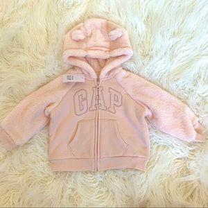 Baby GAP full zip pink fur hoodie with ears NWT
